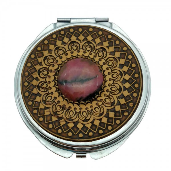 """Round mirror """"Double ornament with rhodonite"""""""