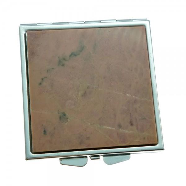 Pocket mirror made of rhodonite